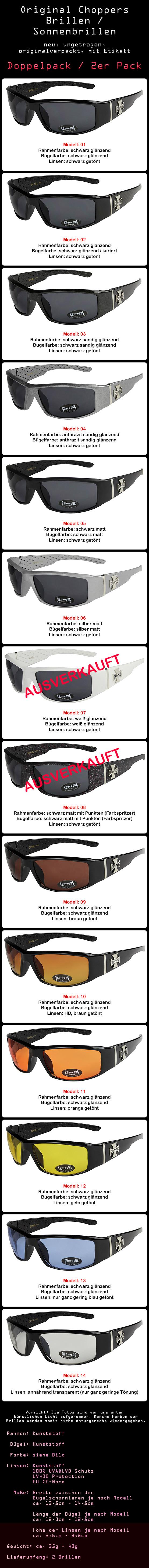Brillen 2er Pack Choppers 6608 Locs Sonnenbrille gelbe Linsen Herren Damen schwarz weiß