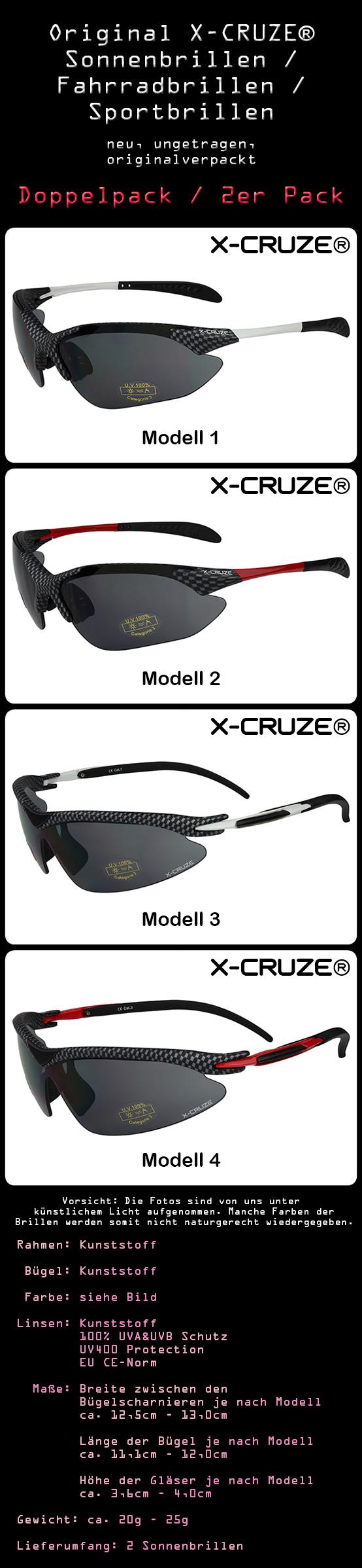 2er Pack X-CRUZE® Fahrradbrille Rad Sonnenbrille Brille Set Männer Frauen weiß